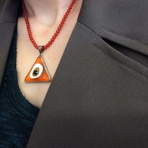 Vintage Jewelry - Sterling Silver Orange Triangle Stone Evil Eye
